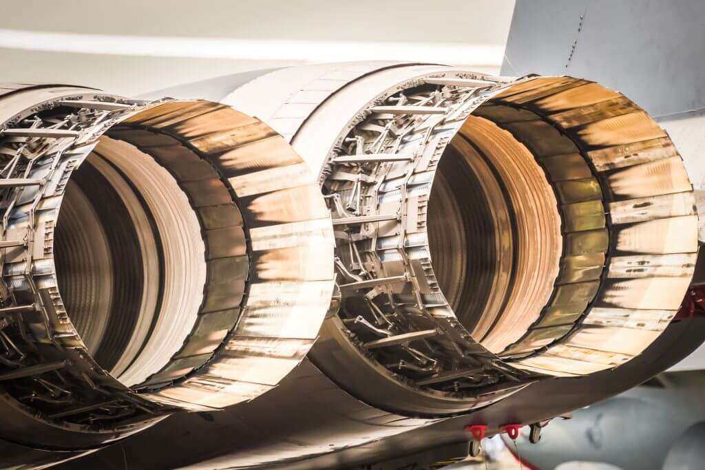 abstract closeup of military fighter jet engine thrust cowlings